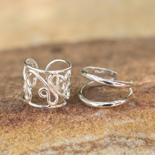 Sterling silver ear cuff earrings Pair 'Sleek Filigree'