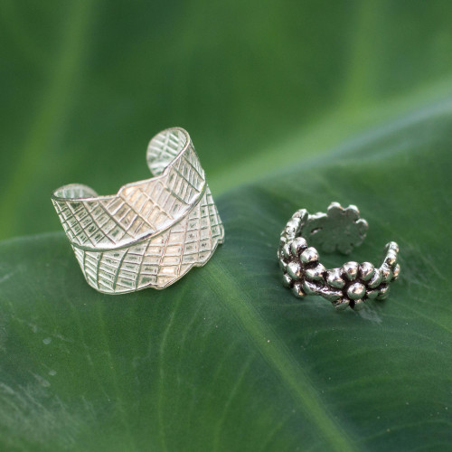 Sterling silver ear cuff earrings Pair 'Foliage and Flowers'