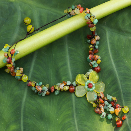 Hand Made Floral Carnelian and Serpentine Necklace 'Dazzling Bloom'