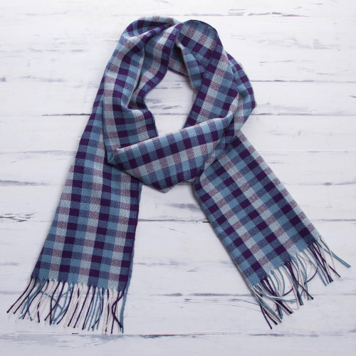 Handwoven Blue and White 100 Alpaca Scarf with Purple 'Andean Dawn'