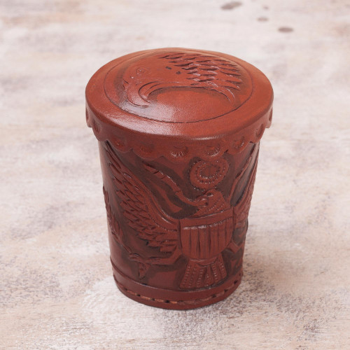Leather dice cup and dice set 'American Patriot'