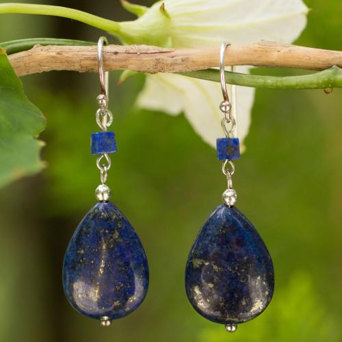 Lapis Lazuli Dangle Earrings 'Blue Lily'