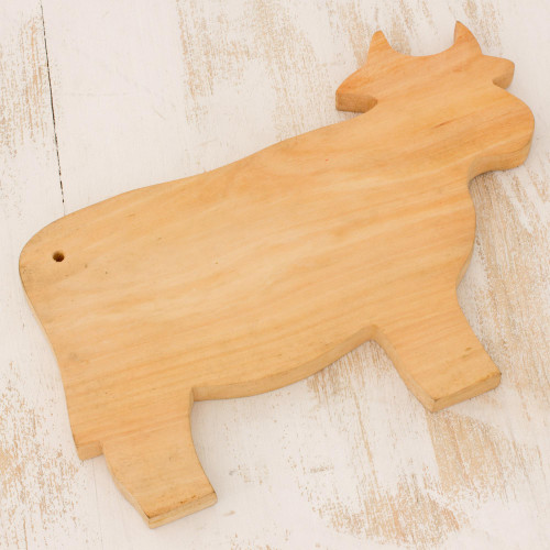 Hand Carved Wood Cutting Board 'Happy Cow'