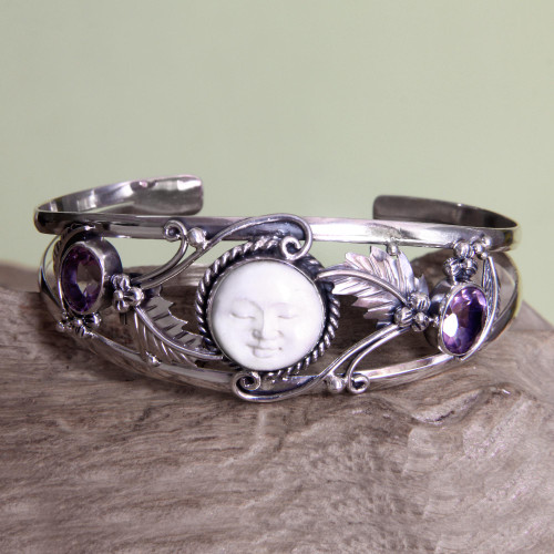 Amethyst cuff bracelet 'Night Goddess'
