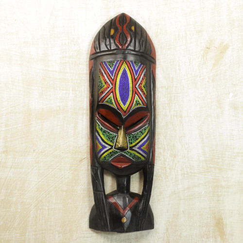 African Beaded Mask Sculpture Crafted by Hand 'Na Gode'