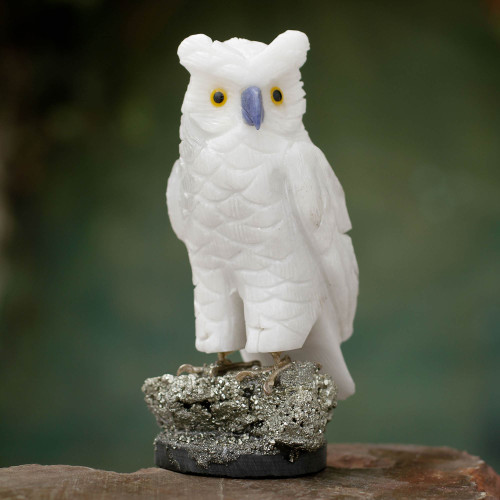 Artisan Crafted Onyx and Pyrite Owl Sculpture 'Vigilant Owl'