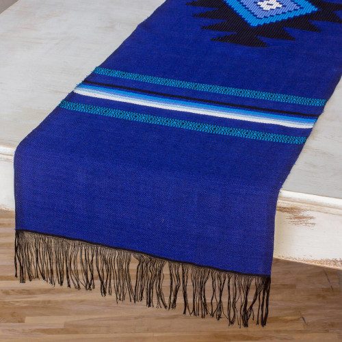 Cotton table runner 'Blue Totonicapan Sun'