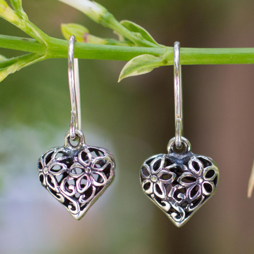 Sterling silver flower earrings 'Blossoming Heart'