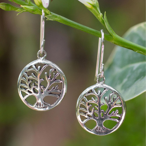 Silver Tree Earrings from Thailand 'Living Forest'