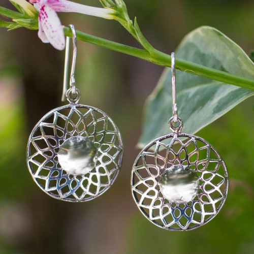 Hand Made Floral Sterling Silver Dangle Earrings 'Lotus Blossom'
