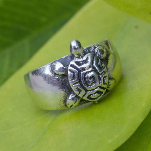 Hand Crafted Sterling Silver Turtle Toe Ring 'Walk Slowly'