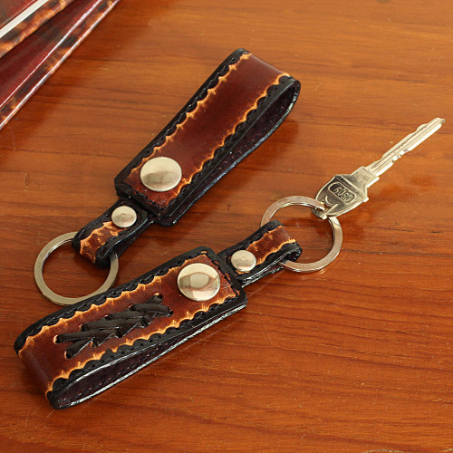 Hand Tooled Brown Leather Key Rings Pair 'Key to Success in Brown'