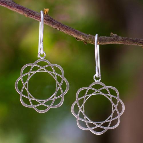 Sterling silver flower earrings 'Blossoming Atoms'