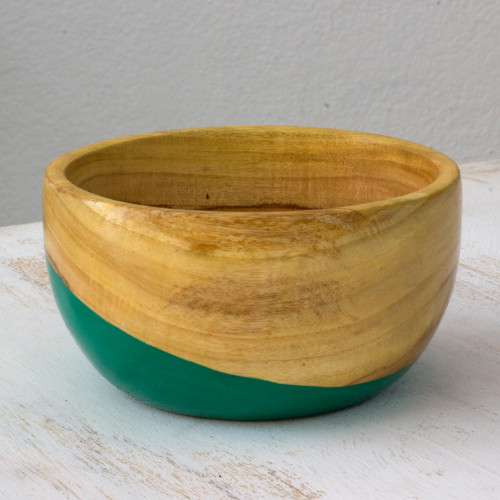 Dip Painted Hand Carved Wood Bowl Small 'Spicy Green'