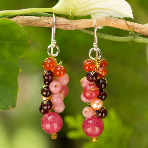 Beaded Pearl Carnelian and Quartz Handmade Earrings 'Rosy Vineyard'