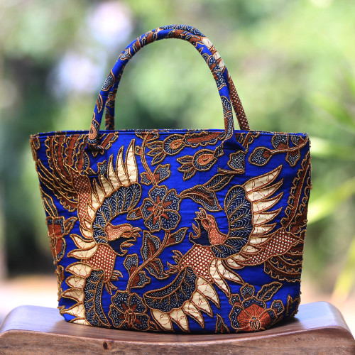 Beaded Blue Cotton Batik Handbag Hand Crafted in Bali 'Glorious Java'