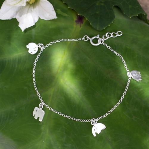 Handmade Sterling Silver Elephant Charm Bracelet 'Elephant Gang'