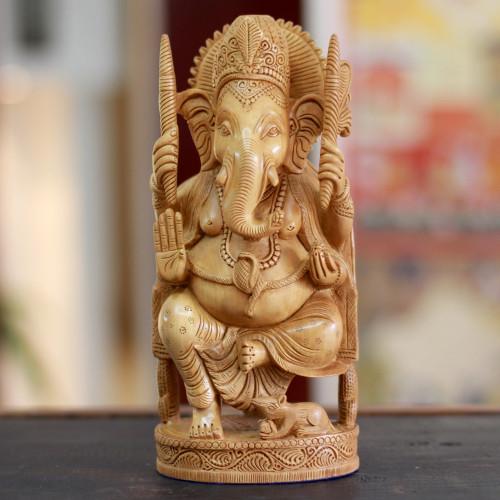 Wood sculpture 'Blessed Ganesha I'