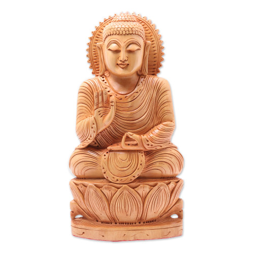 Wood sculpture 'Peace from Buddha'
