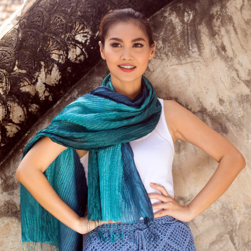 Hand Dyed Pin Tuck Silk Scarf 'Aqua Turquoise Transition'