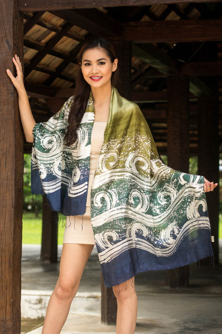 Silk Batik Shawl in Green and Blue from Thailand 'Ocean Cliff'