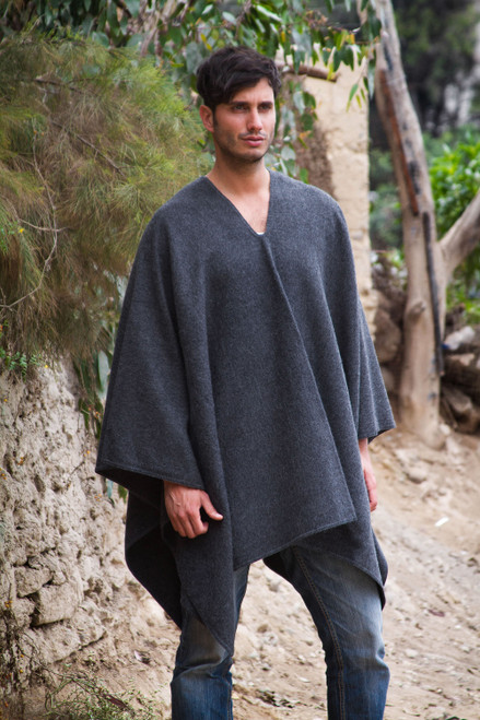 V-neck Poncho for Men Artisan Crafted in Peru 'Inca Explorer in Gray'