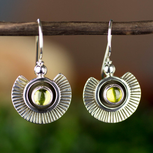 Artisan Crafted Earrings with Peridot and Sterling Silver 'Teotihuacan Suns'