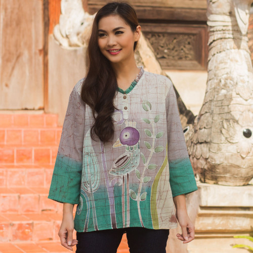 Cotton Batik Bird Print Blouse 'Purple Bird'