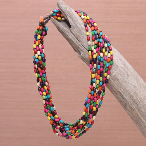 Multicolor Necklace Beaded Jewelry Knotted by Hand 'Songkran Belle'