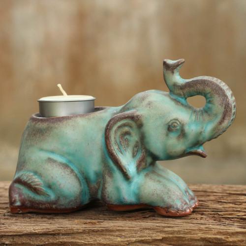 Celadon Ceramic Tea Light Holder from Thailand 'Reclining Turquoise Elephant'