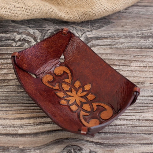 Leather Catchall in Honey Brown Artisan Crafted in Peru 'Floral Star'