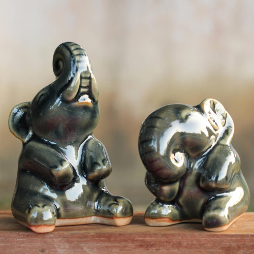 Handcrafted Dark Green Celadon Ceramic Elephants Pair 'Happy Dark Green Elephants'