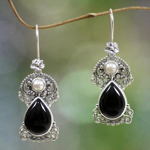 Pearls and Onyx Earrings Artisan Crafted Thai Jewelry 'Frangipani Nights'