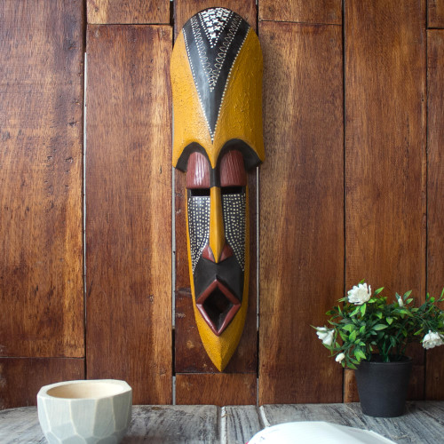 Carved Wood Authentic African Mask 'Akan Friend'
