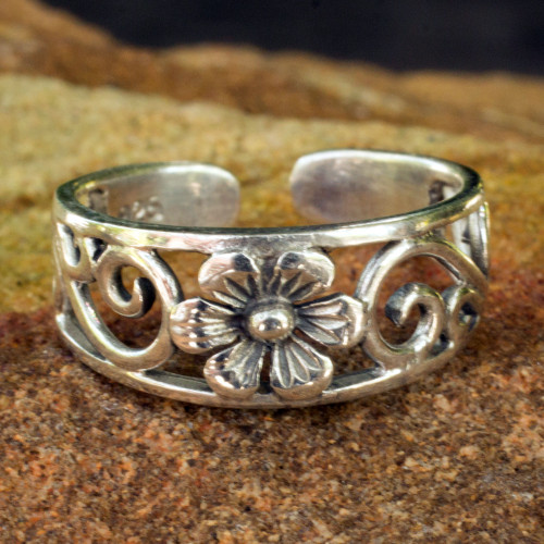 Flower Toe Ring in Sterling Silver Thai Artisan Jewelry 'Blossoming Paths'
