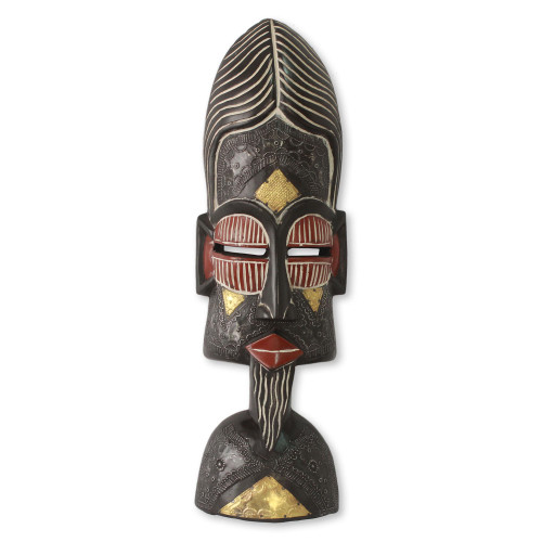 Artisan Crafted African Mask with Brass Accents 'Understanding Lovers'