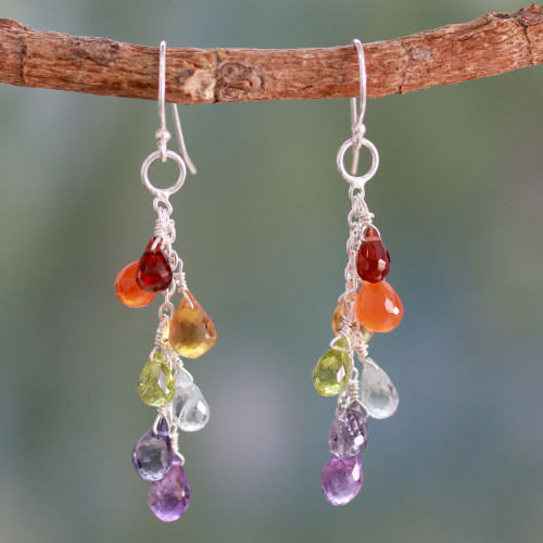 Colorful Multi-Gem Cluster Earrings from India 'Vibrancy'
