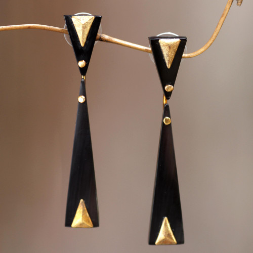 Handcrafted Brass Accent Earrings with Water Buffalo Horn 'Black Mountain'