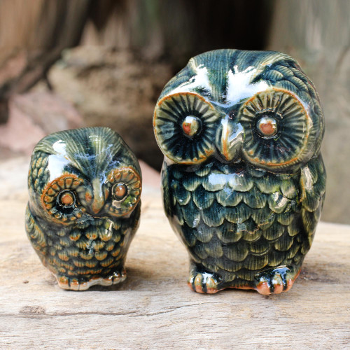 Celadon Ceramic Figurines from Thailand pair 'Little Green Owls'
