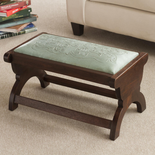 Artisan Crafted Mohena Wood and Leather Bench 'Beauty'