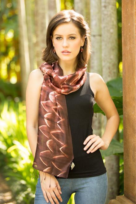 Fair Trade Silk Tie Dye Scarf from Thailand 'Cocoa Mystique'
