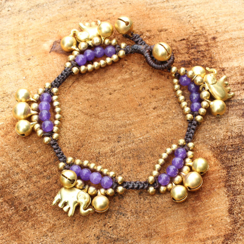 Elephant and Bell Charm Bracelet in Purple Quartz and Brass 'Fortune's Melody'