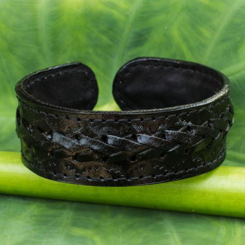 Fair Trade Black Leather Cuff Bracelet for Men 'Midnight Warrior'