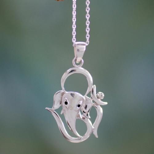Sterling Silver Handmade Ganesha Necklace 'Modern Ganesha'