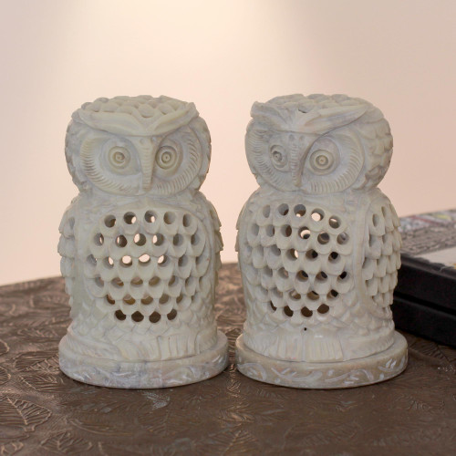 Hand Carved Soapstone Owl Candle Holders Pair 'Lucky Owls'
