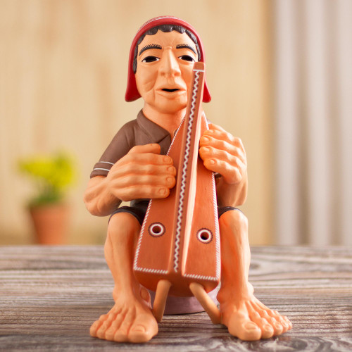 Artisan Crafted Ceramic Figurine of an Andean Harpist 'Andean Harpist'