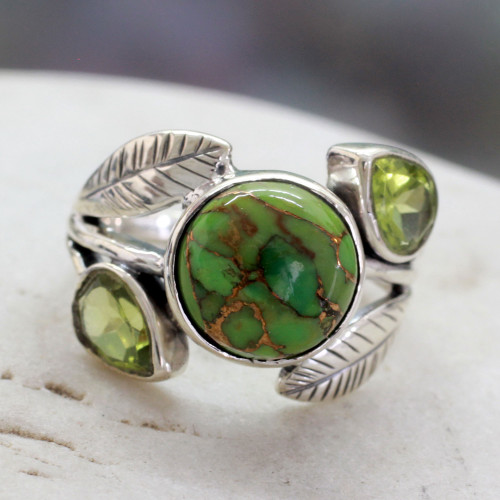 Handmade Peridot Ring with Composite Turquoise 'Green Ivy'