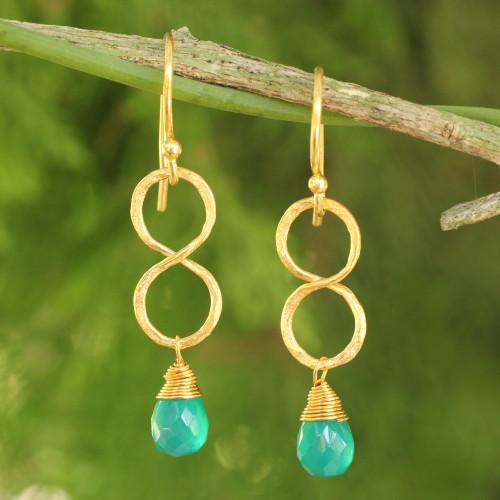 24k Gold Plated Green Onyx Dangle Earrings 'Green Infinity'