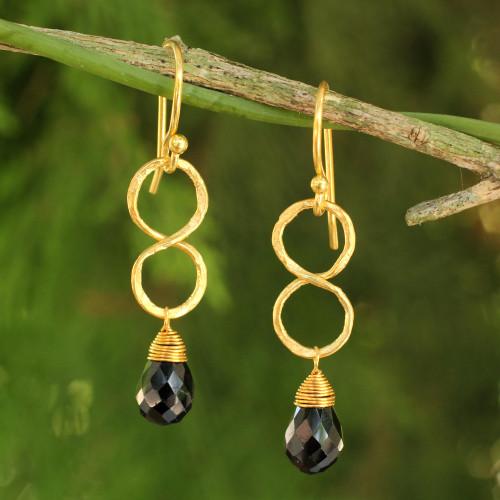 24k Gold Plated Black Onyx Earrings 'Infinity'