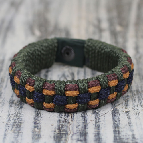 Fair Trade Men's Bracelet Hand-crafted Jewelry 'Green Ananse Web'